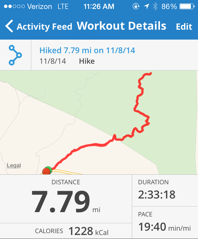 Stats from the MapMyRun app tracking distance, time, pace, calories and a map view of Agua Caliente Creek hike.