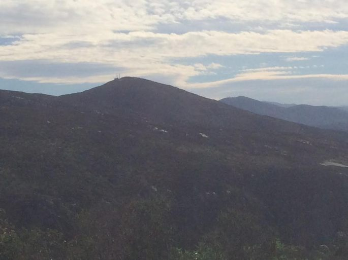 View of Cowles Mountain (the Peak with the Radio Tower) from South Fortuna. (Click Image for Larger View.)