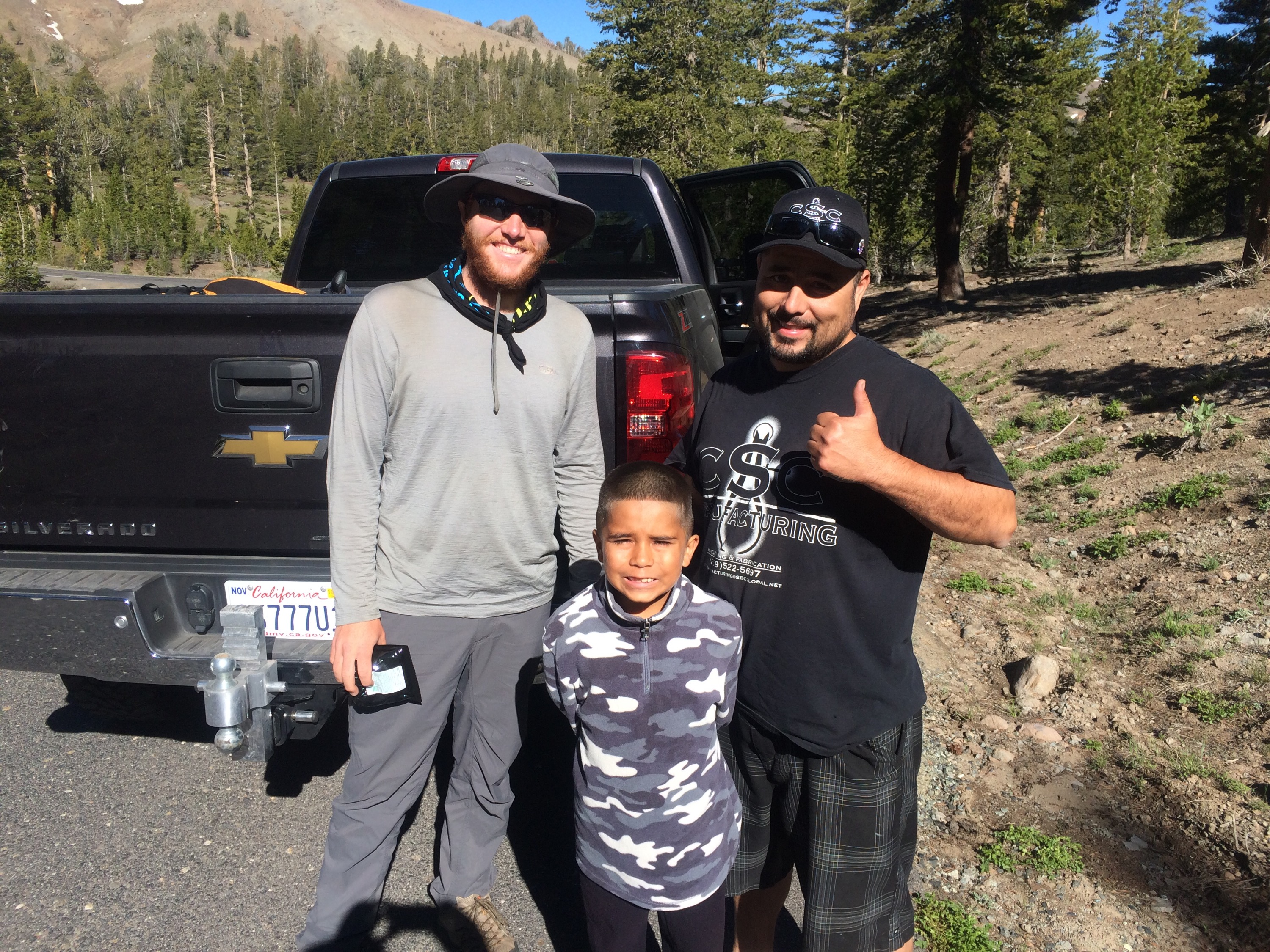 Me with Chris and his son as they dropped us off back at the trail after North Kennedy Meadows, such cool people!