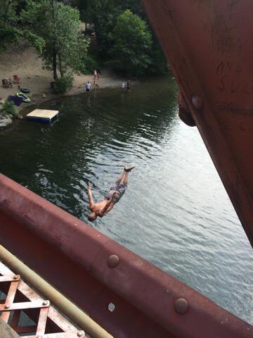 Locals jumping off the Belden bridge