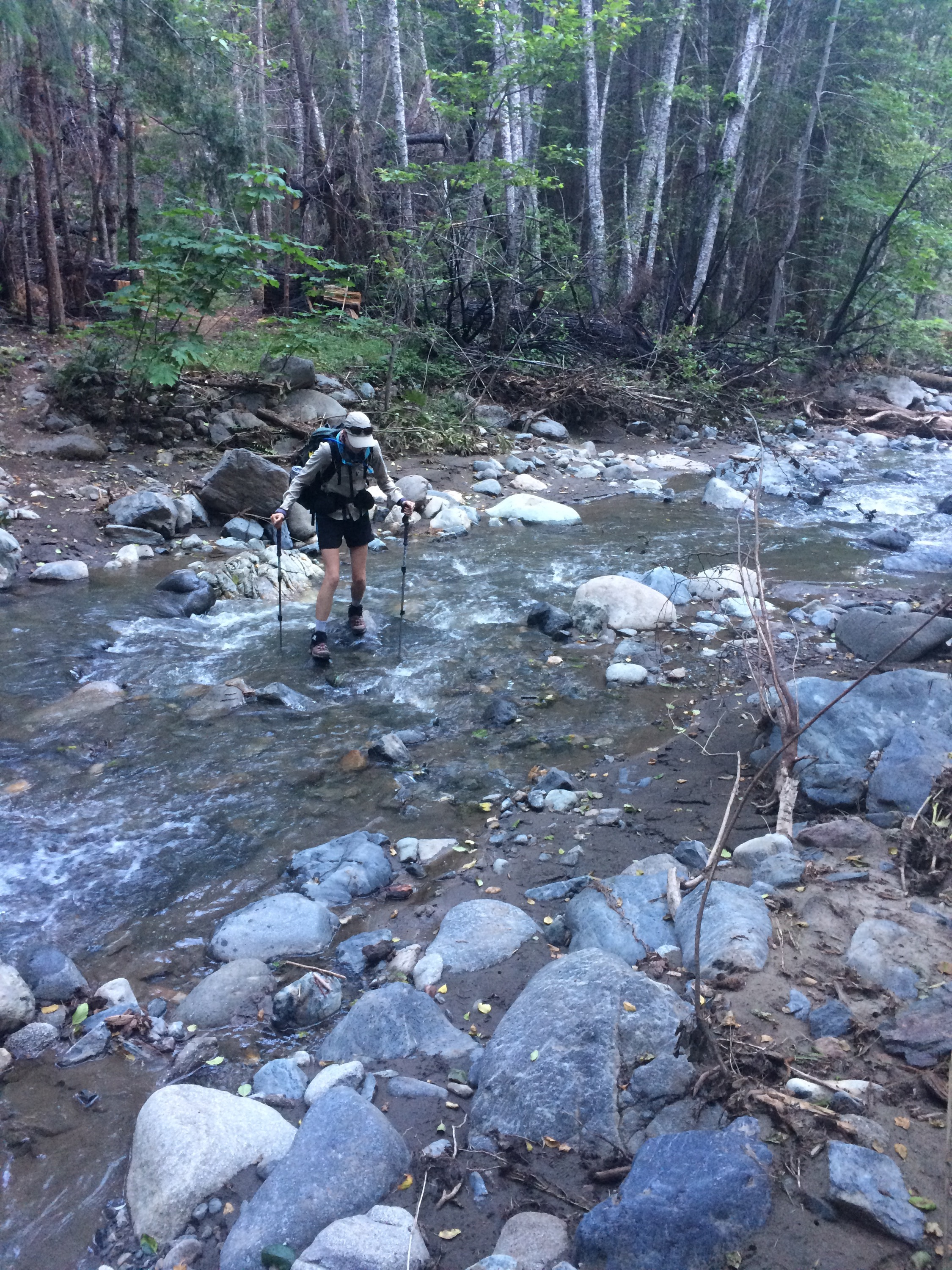 Rock hopping across the creek.