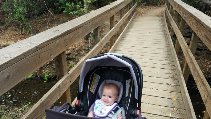 Our youngest 'hiker' enjoying the ride over the first creek crossing foot bridge.